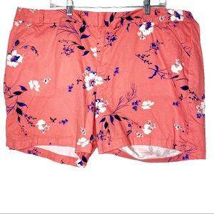 Boutique Coral Floral Midi Shorts Size 22W